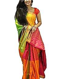 Harikrishnavilla Women's Bhagalpuri Silk Saree With Blouse Piece (B-Yellow Monsoon, Free Size)