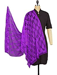 Weavers Villa® Purple Floral Net Dupatta For Women