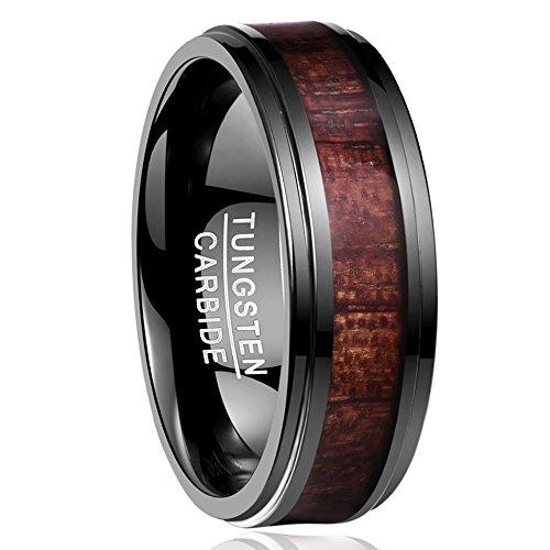 Nuncad Ring Keltisch mit Opal für Männer/Frauen, 8mm Wolfram Ring Schwarz-Rot für Verlobung, Freundschaft, Hochzeit und Fashion, Größe 54 (14)