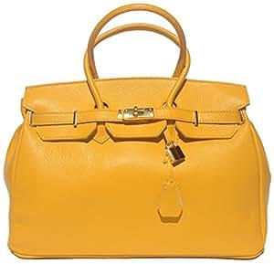 Milano Italienische echt Leder Damen Handtasche, Henkeltasche, Laptop, City Shopper, Kellystyle, Arbeitstasche, mit Goldschloss. Made in Italy (Gelb)