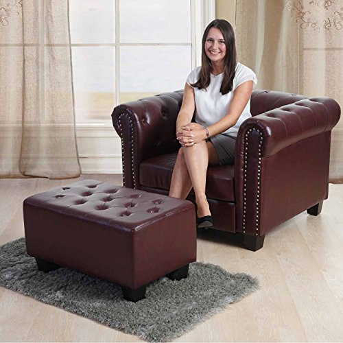 Luxus 3-2-1 Sofagarnitur Couchgarnitur Loungesofa Chesterfield Kunstleder ~ eckige Füße, rot-braun - 5