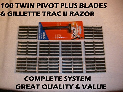 100 Personna Twin Pivot Plus Blades & Fixed Head Razor by Personna (Plus Fixed Blade)