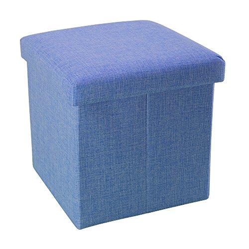Intirilife – 38 x 38 x 38 cm Sitzhocker Aufbewahrungs-Box aus Stoff in Leinen-Optik und Dekopappe Faltbox Ordnungsbox Kiste mit Deckel in MEER-BLAU