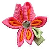 NeedyBee HairClip for Toddlers with Flower Shape (Girls/Babies/Kids/Newborn Hair Accessories) (Orange and Pink) Amazon