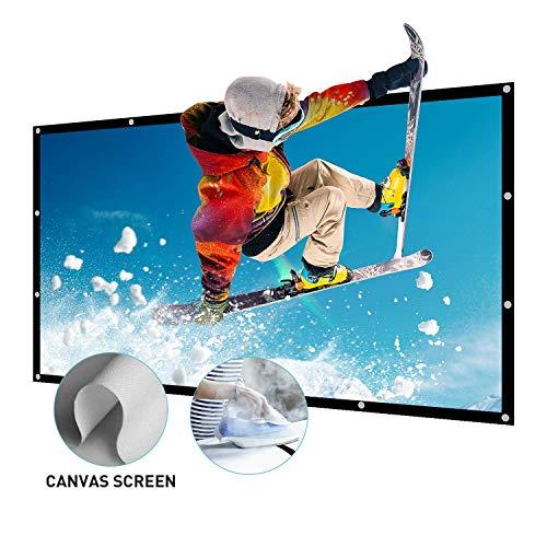 NIERBO Beamer Leinwand Groß 200 Zoll 16 9 Portable Leinwand für Beamer Unterstützung Doppelseitigen Projektion Projector Screen für HD Full HD Heimkino 3D oder 4K Leinwand 447x257cm