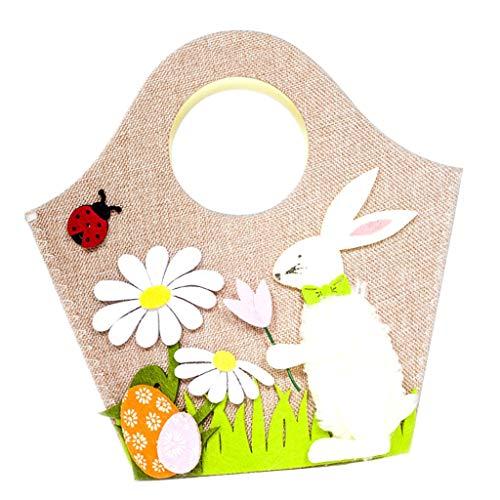PETSOLA Netter Tierkaninchen Taschen Taschen Geschenk Korb Glücklicher Ostern KinderPartei Lieferant - Weiße Hase (Hase Glücklich Ostern)