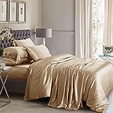 ElleSilk 3-Teiliges Seiden Bettbezug Set, Seiden Bettwäsche Set aus 100% Reiner Seide, 22 Momme, 600 Fadendichte, Weich und anschmiegsam, 135 x 200cm - Cappuccino