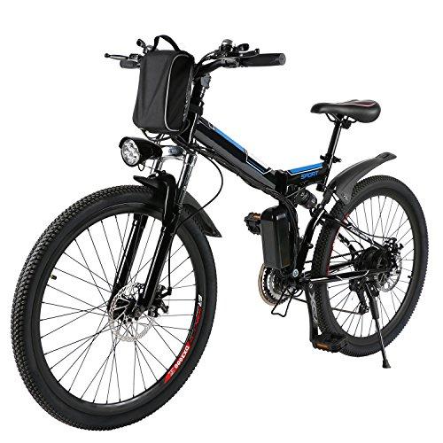 Befied Bicicleta Eléctrica de Montaña 26 inch Plegable con Bateria Litio 36 V 8AH Motor brushless 250W 21 Velocidades Cuadro de Aluminio