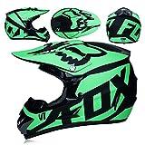 CFYBAO Casco De Motocross con Regalos Gafas Máscara Guantes Fox Moto Racing Casco Integral para Hombre Y Mujer,Green,L