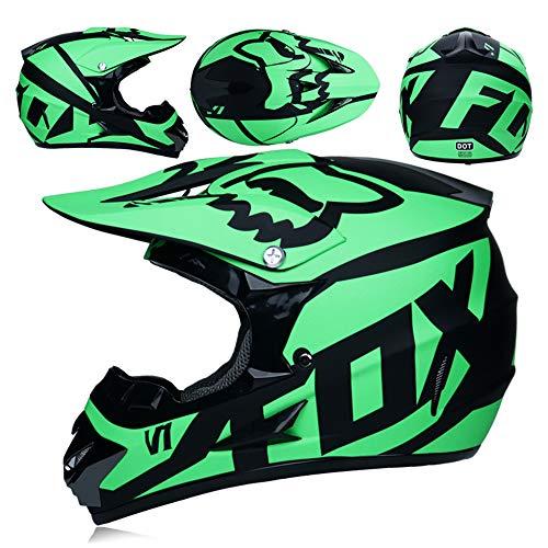 CFYBAO Casco De Motocross con Regalos Gafas Máscara Guantes Moto Racing Casco Integral para Hombre Y Mujer,Green,L