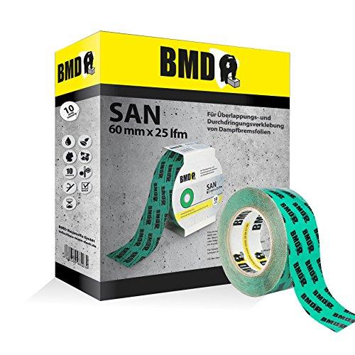 BMD - san Klebeband (Grün - 60mm x 25lfm) zur Verklebung von Dampfsperrfolien, Dampfbremsfolien, Dampfbremse, Dampfsperre