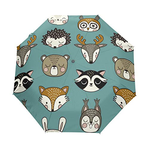 ed4502bd6eab MyDaily Cute Fox Hedgehog Deer Owl Travel Umbrella Auto Open/Close  Lightweight Compact Windproof