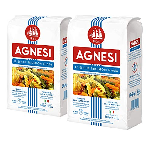 Agnesi Eliche Tricolor Pasta, 500g, Pack of 2, Product of Italy