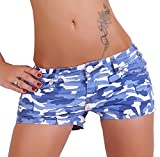 Simply Chic Kurze Damen Shorts mit Camouflage Muster, Farbe:Blau, Größe:L