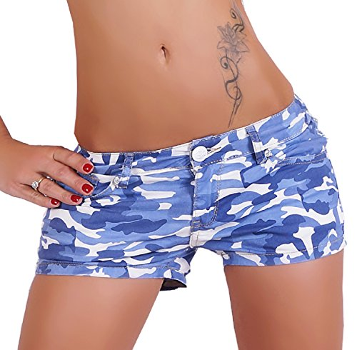 Simply Chic kurze Damen Shorts mit Camouflage Muster Blau