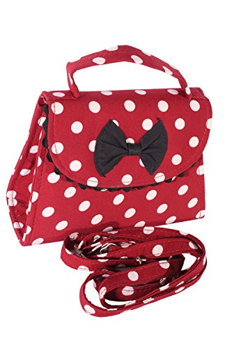SugarShock Damen Fifties POLKA DOTS rockabilly BOW Tasche Köfferchen Handtasche weinrot
