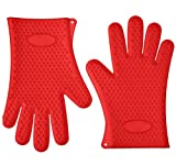 Karp Oven Gloves - Silicone Baking & BBQ Insulated Gloves (Red Color)