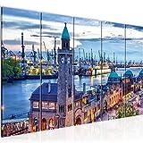 Bilder Stadt Hamburg Wandbild 150 x 60 cm Vlies - Leinwand Bild XXL Format Wandbilder Wohnzimmer Wohnung Deko Kunstdrucke Blau 5 Teilig - MADE IN GERMANY - Fertig zum Aufhängen 603056a