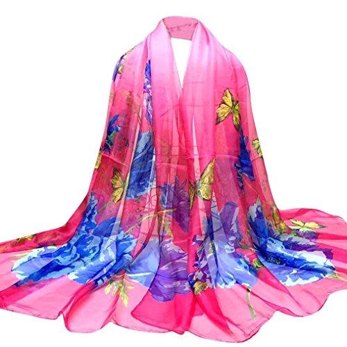 OverDose Damen Schal, Fashion Lady Schmetterlings Blumen Lange Wrap Frauen Schal Chiffon Schal Seide Schals Halstuch Tücher (Jersey Tank-top Bestickte)