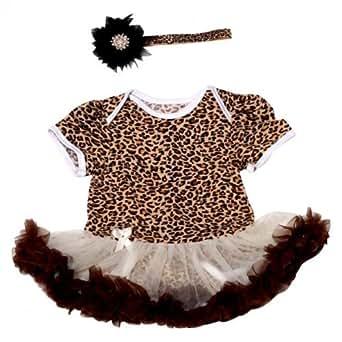 4aa96ff68e6 ... NeedyBee Leopard Print Brown and Black 2 Piece (Romper Tutu dress    Headband) Combo