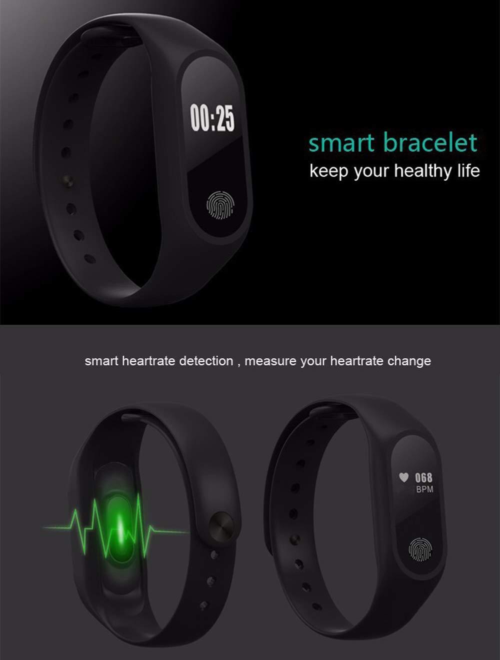 GerTong Fitness Pulsera de seguimiento de actividad con monitor cardíaco, banda inteligente M2, resistente al agua… 6
