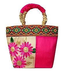 Adrian Kashmiri Trendy Floral Print Wrist Bag For Women/Girls (Pink)