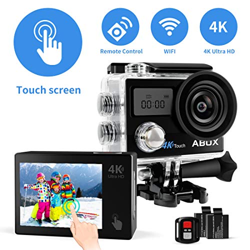 ABOX Action Cam 4K WiFi 608TA, Sports Cam Touchschermo 16MP, Subacquea a 30m, 2 Batteria per Ricambio, con Accessori per Casco e Bici (Custodia, Telecomando, Supporto, Stabilizzatore, ECC). (Modello)
