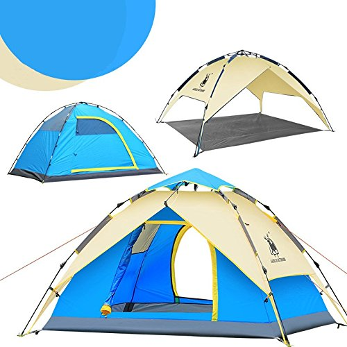 Instant Camping Tent Pop-up Hiking Tent Waterproof Trip Beach School Travel Bag Fishing Shelter (Blue)