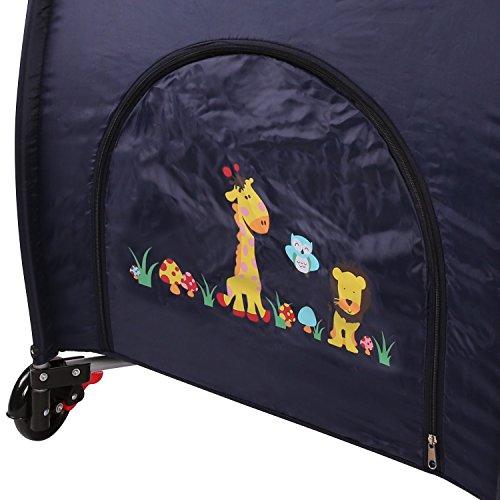 KIDUKU® Kinderreisebett Kinderbett Säuglingsbett Babybett Klappbett Reisebett für Kinder Zweitbett, mit zweiter Ebene für Kleinkinder/Säuglinge, 6 verschiedene Farben, kompakt, höhenverstellbar (Blau)