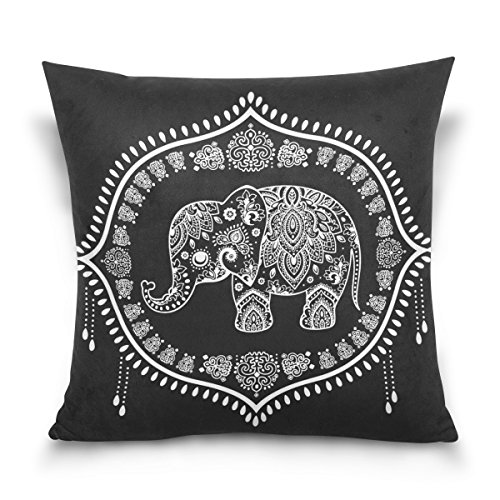 Use7 Funda de Almohada Decorativa, Cuadrada, Elefante Indio, Flor de Loto, Mandala, Negro, Funda de Almohada para sofá o Cama, Dos Lados, Tela, 50 x 50cm/20 x 20 Inches