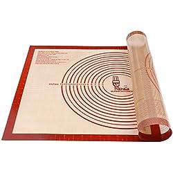 Tapis à pâtisserie en silicone antidérapant Extra Large avec mesures 71 × 51 cm pour tapis de cuisson, Tapis de comptoir, Tapis de pâte à rouler, Placement/fondant/Tapis de la croûte à tarte (Rouge)