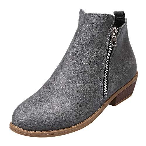(MYMYG Damen Leder Stiefel Martain Boot Frauen Platz Ferse Reißverschluss Schuhe Lederstiefel Stiefel Round Toe Single Schuhe Einfarbige Ankle Boots Freizeitschuhe)