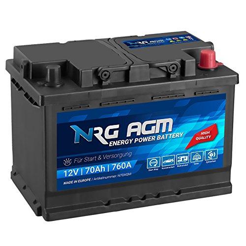 NRG AGM Autobatterie 70Ah 760A/EN 12V Start Stop Plus VRLA Batterie N70AGM