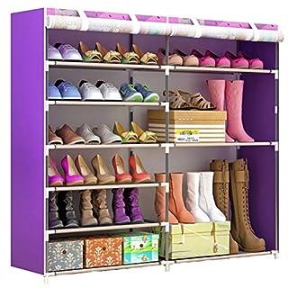 Wanforjewellery 2x6 Faltschrank Schuhständer, Staubdichtes Stoffschuhschrank Stoffschrank Schuhe, 106 * 120 * 30cm,Purple
