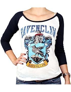 Cotton Division damas Harry Potter Ravenclaw longsleeve cresta azul a blanco