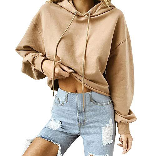 Sonnena Damen Langarm Einfarbig Hoodie Sweatshirt Slim fit Sweatjacke Kapuzenpullover Pullover T-Shirt Baumwoll Outwear Langarm Hoodie Kapuzen-Sweatshirt Tops Mantel Outwear