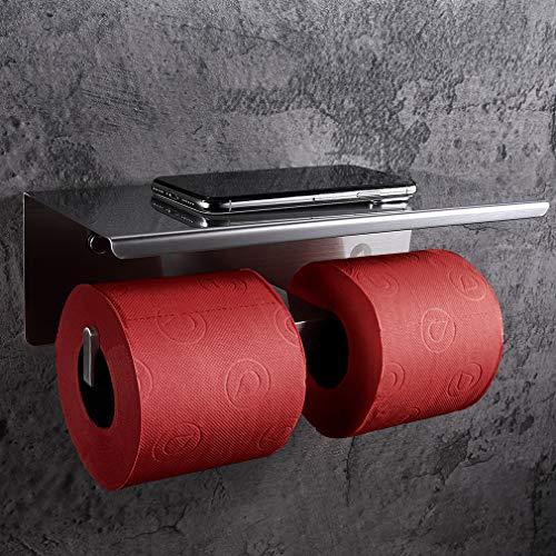 SimpleHome Edelstahl Toilettenpapierhalter für 2 Rollen ohne Bohren, doppelter Toilettenrollenhalter mit Ablage für Feuchttücher und Smartphone.