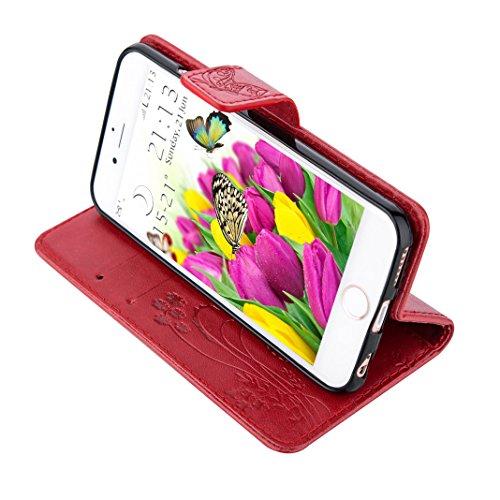 iPhone SE Flip Cover, iPhone 5 Handyhülle, iPhone 5S Case,Moon mood® Flip Case Brieftasche für Apple iPhone 5/5S/SE (4.0 Zoll) ,PU Leder Hülle Wallet Case Folio Schutzhülle Scratch Design Bumper Handy 1-Rot
