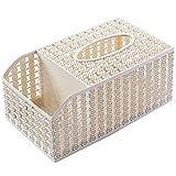 WINZSC Multifunktionale Kunststoff Tissue Box Wohnzimmer Tisch Nachahmung Rattan Desktop Fach Haushalt Tissue Aufbewahrungsbox wx9181051 (Farbe : Beige)