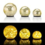 Online-Fuchs 3er SET Glaskugeln mit LED Lichterkette inkl. Timer - In und Outdoor geeignet - Deko Kugeln in Bruchglasoptik - LED Beleuchtung (Gold)