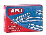 APLI 11711 - Clips níquel nº2 (32 mm), 100 clips