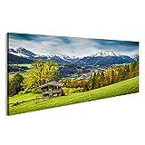 islandburner Bild Bilder auf Leinwand Schöne Berglandschaft in Den bayerischen Alpen mit Dorf Berchtesgaden und Watzma Wandbild Leinwandbild Poster DJT