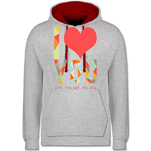 Romantisch - I love you just the way you are - Kontrast Hoodie Grau Meliert/Rot