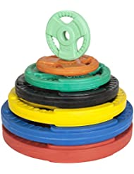 GORILLA SPORTS® Hantelscheibe 50/51 mm Olympia Gummi Gripper 1,25-25 kg