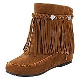 5ce546f6f RAZAMAZA Moda Zapatos de Mujer de Alta Botas con Flecos Plano (38 EU
