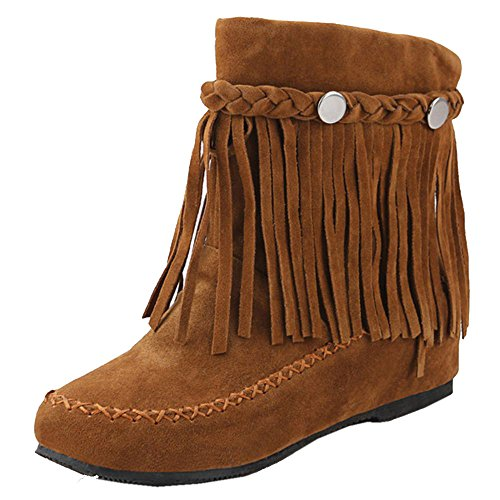 RAZAMAZA Moda Zapatos de Mujer de Alta Botas con Flecos Plano (38 EU,Brown)
