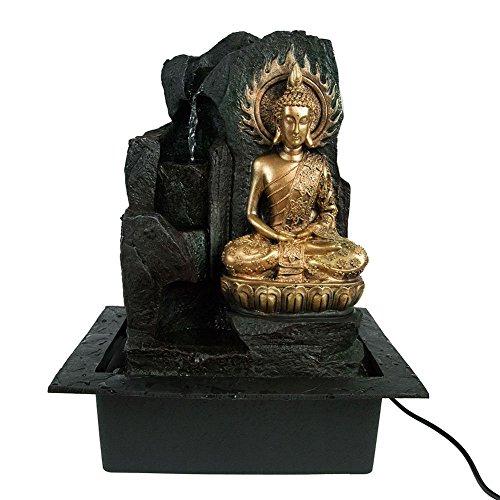 25. Gerimport Brunnen Buddha Flamme Vergoldet 41 Cm Mit LED Licht  Zweifarbig Und Wasserfall Harz