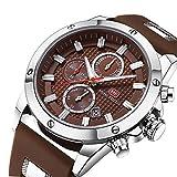 FOVICN Herren Uhr Analog Quarz mit Silkon Armband 089Br
