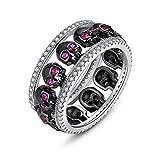 EVBEA Ring Damen Silber 925 Verlobungsring Totenkopf Deko Zirkonia Kristall Punk Gothic Ringe mit Schwarz Geschenkbox Geschenk für Frauen Freundin