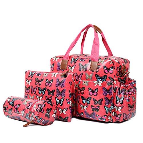Miss Lulu, 4-teiliges Wickeltaschenset, mattes Wachstuch, geblümt und gepunktet oder andere Motive (schottischer Terrier, Schmetterlinge, Katzen, Elefanten), beige - Cat Beige - Größe: L pflaume